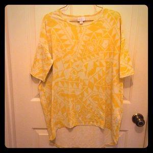 LulaRoe XS yellow white tunic short sleeve top